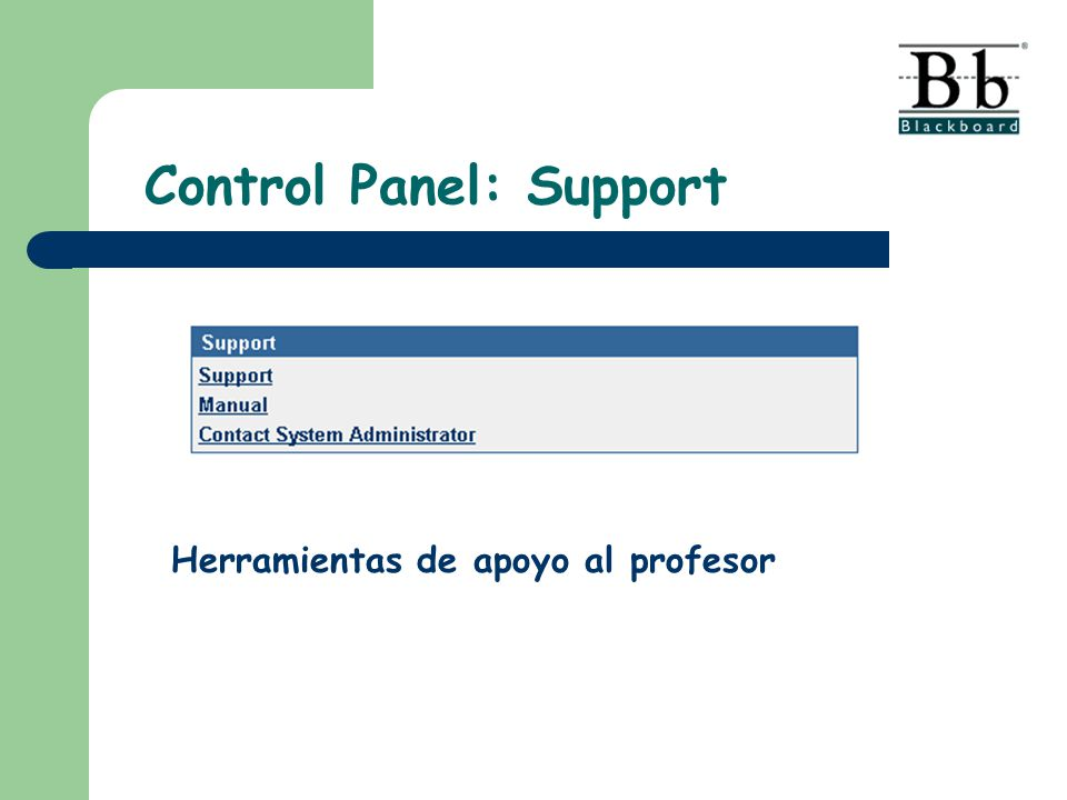 Control Panel: Support