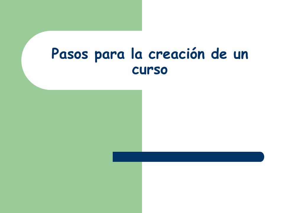 Pasos para la creación de un curso