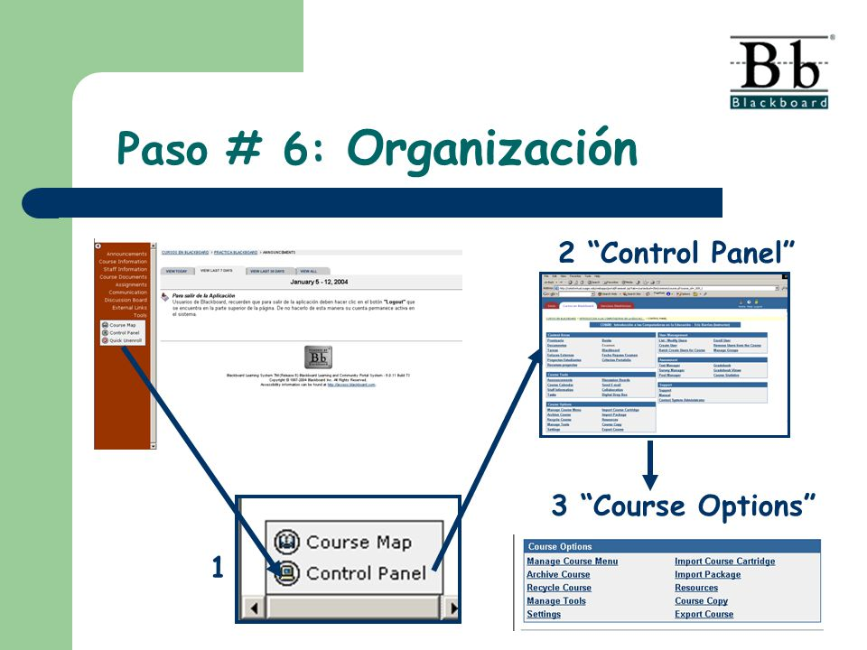 Paso # 6: Organización 2 Control Panel 3 Course Options 1