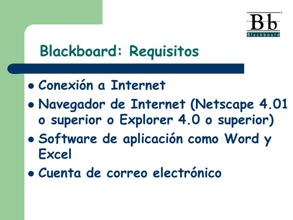 Blackboard: Requisitos