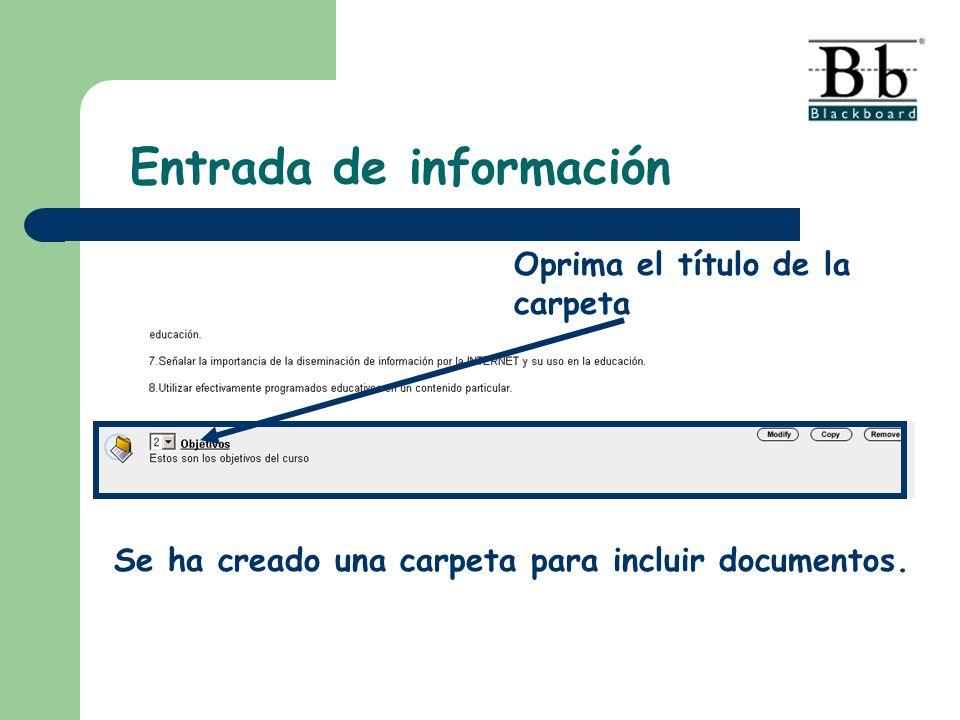 Entrada de información