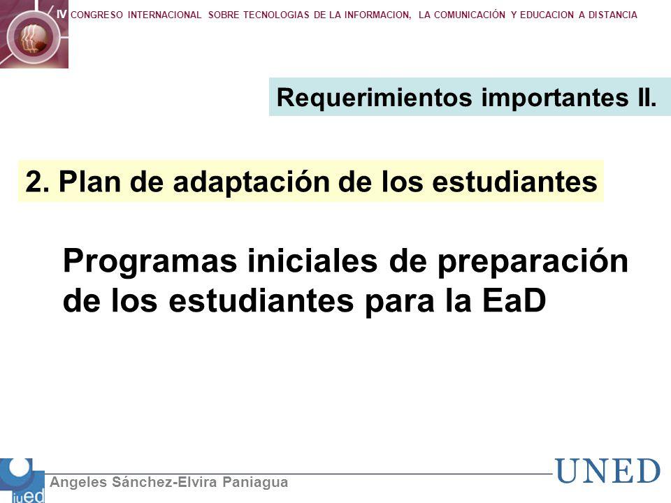 Programas iniciales de preparación de los estudiantes para la EaD