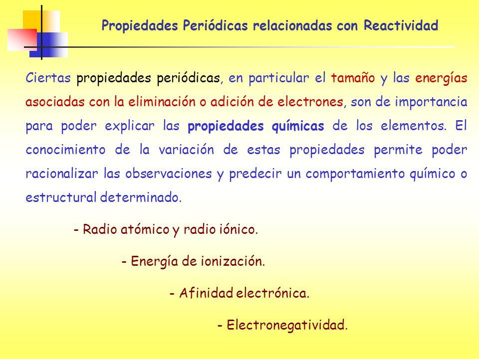 Propiedades Periódicas relacionadas con Reactividad
