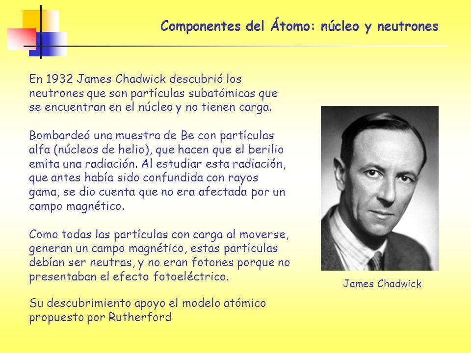 Componentes del Átomo: núcleo y neutrones