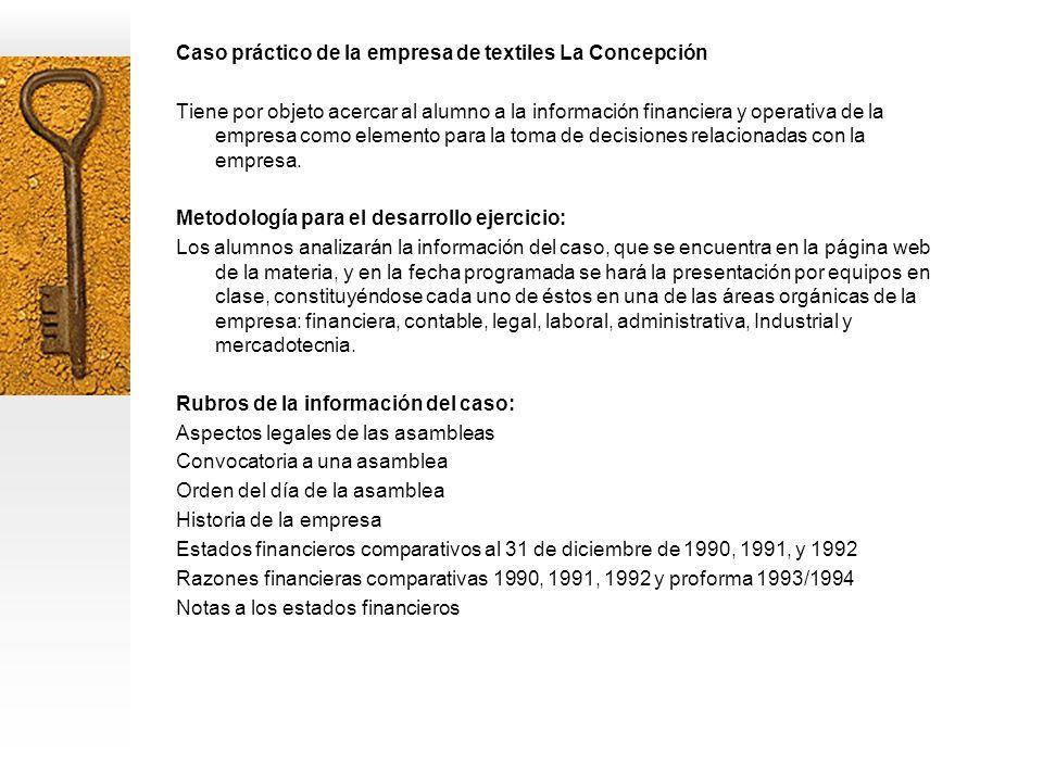 Caso práctico de la empresa de textiles La Concepción