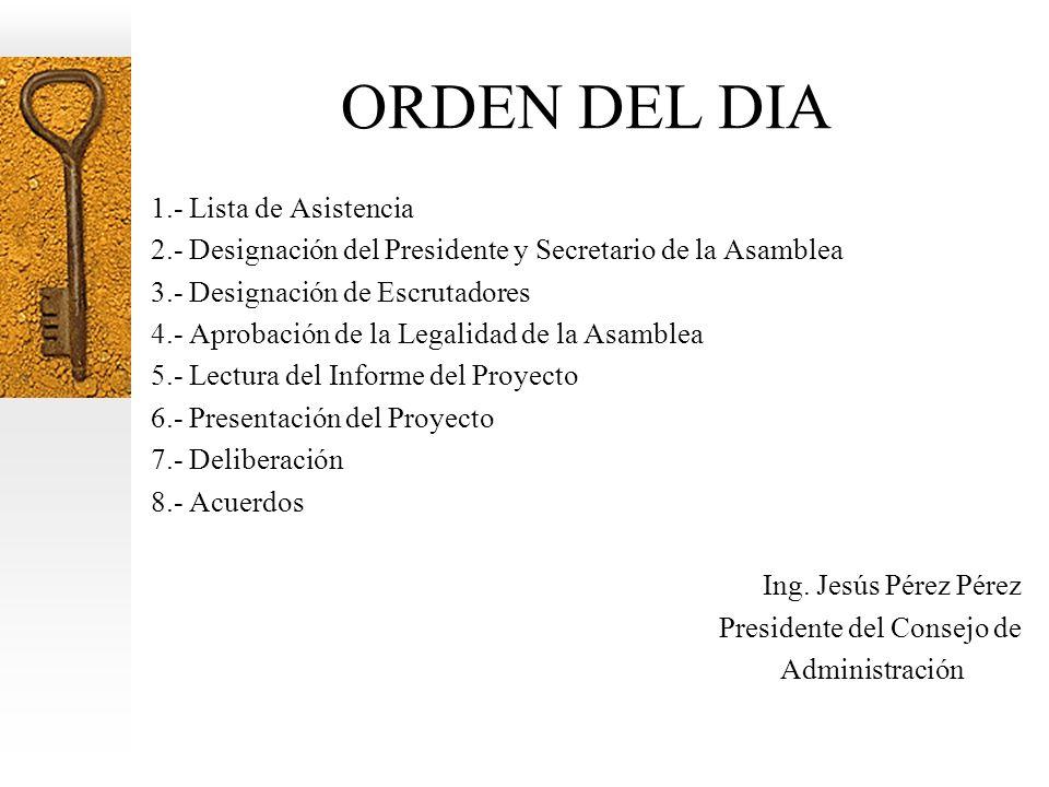 ORDEN DEL DIA 1.- Lista de Asistencia