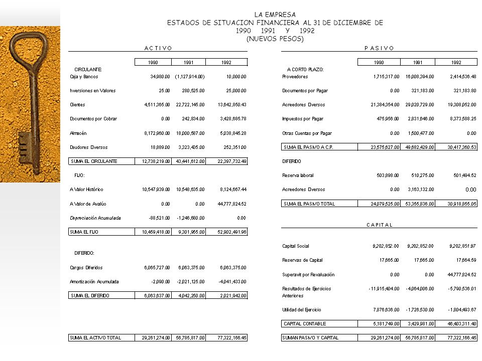 LA EMPRESA ESTADOS DE SITUACION FINANCIERA AL 31 DE DICIEMBRE DE 1990 1991 Y 1992 (NUEVOS PESOS)