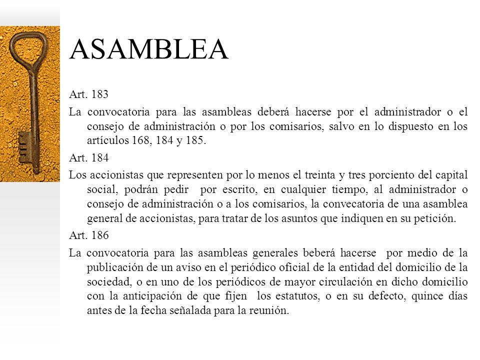 ASAMBLEA Art. 183.