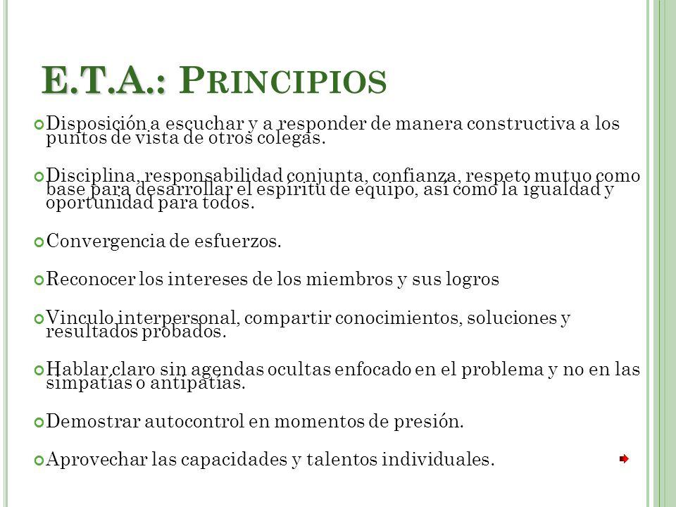 E.T.A.: Principios Disposición a escuchar y a responder de manera constructiva a los puntos de vista de otros colegas.