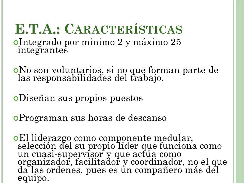 E.T.A.: Características Integrado por mínimo 2 y máximo 25 integrantes