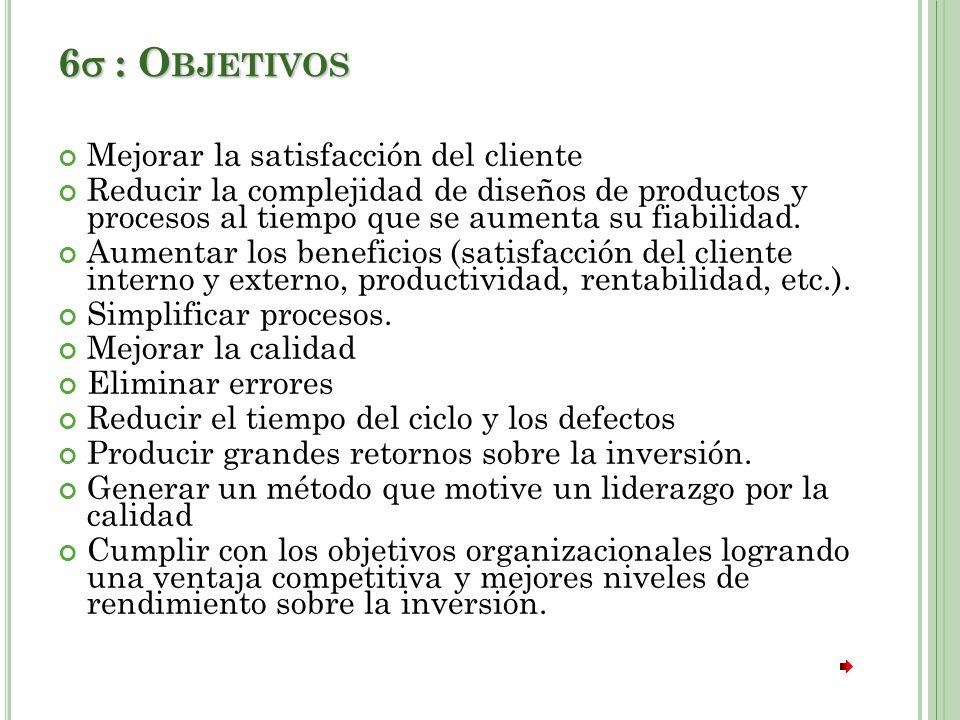 6 : Objetivos Mejorar la satisfacción del cliente