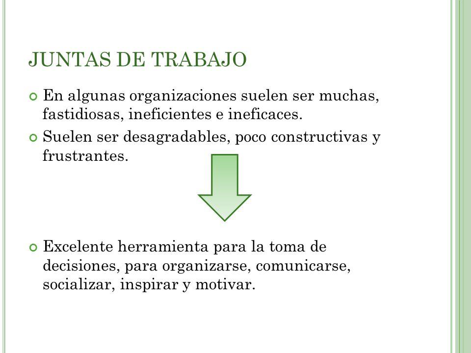 JUNTAS DE TRABAJO En algunas organizaciones suelen ser muchas, fastidiosas, ineficientes e ineficaces.