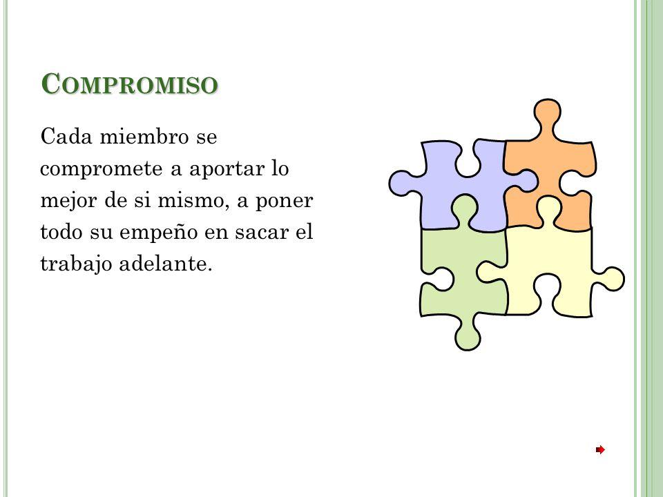 Compromiso Cada miembro se compromete a aportar lo mejor de si mismo, a poner todo su empeño en sacar el trabajo adelante.
