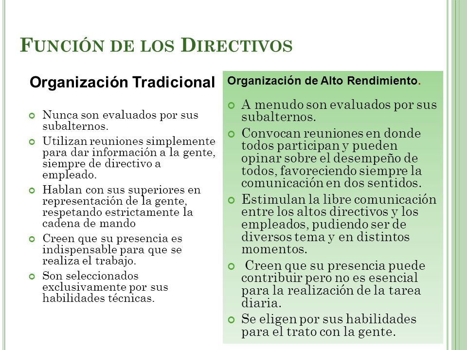 Función de los Directivos