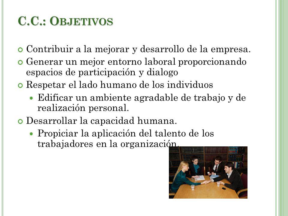 C.C.: Objetivos Contribuir a la mejorar y desarrollo de la empresa.
