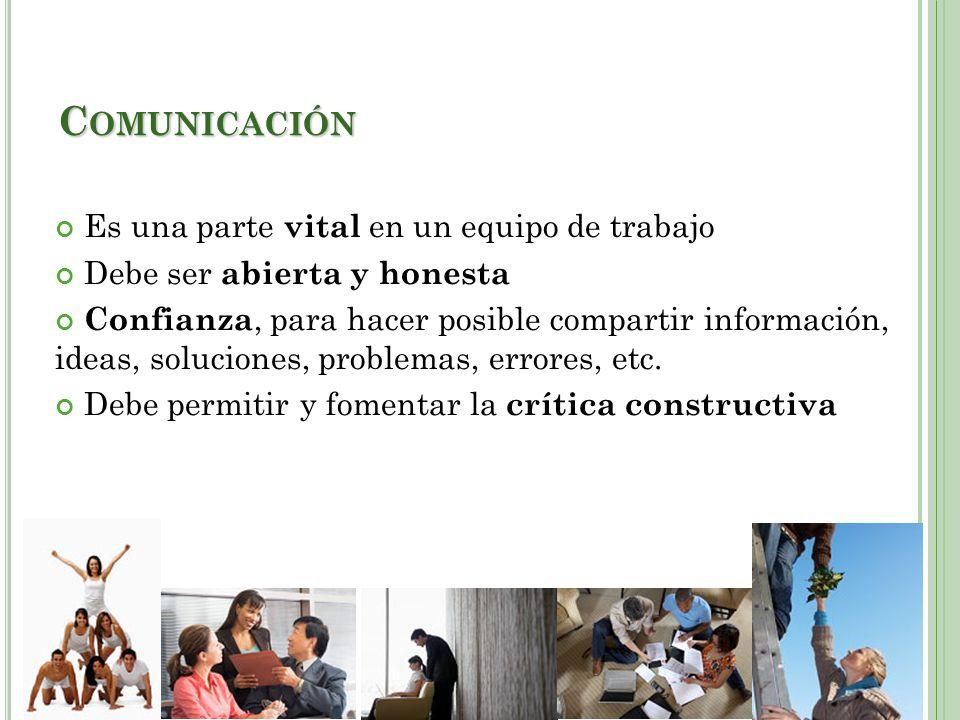 Comunicación Es una parte vital en un equipo de trabajo