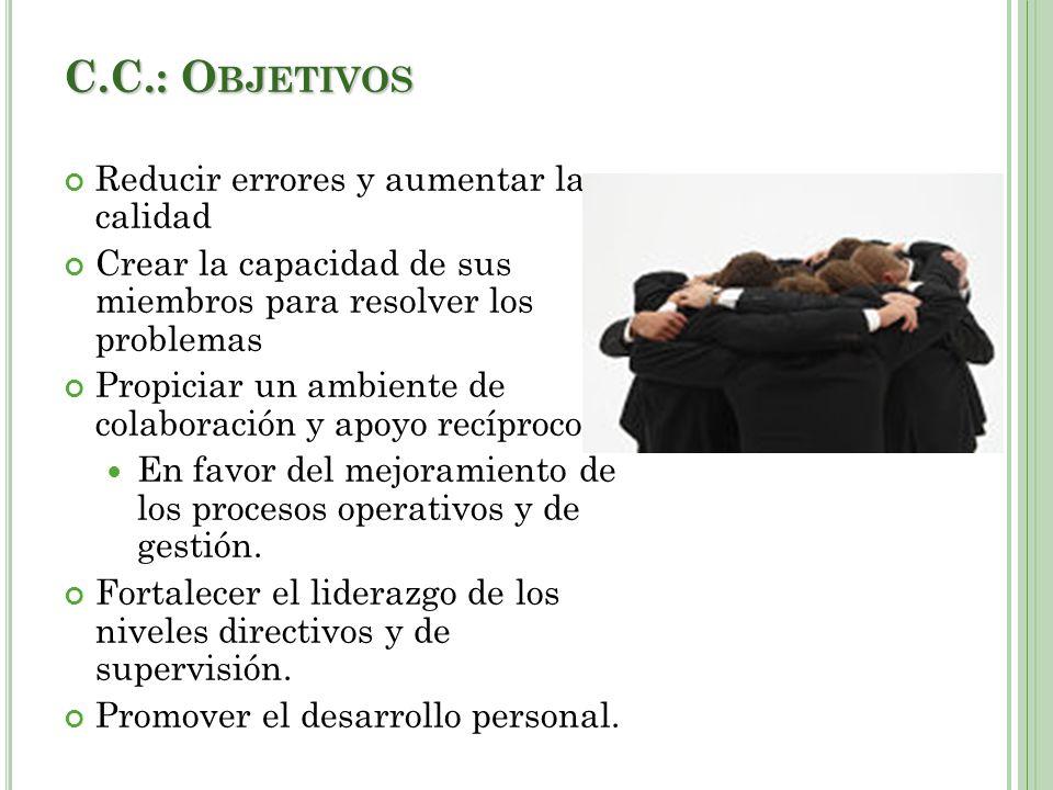 C.C.: Objetivos Reducir errores y aumentar la calidad
