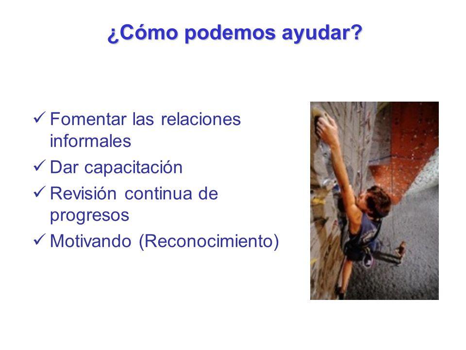 ¿Cómo podemos ayudar Fomentar las relaciones informales