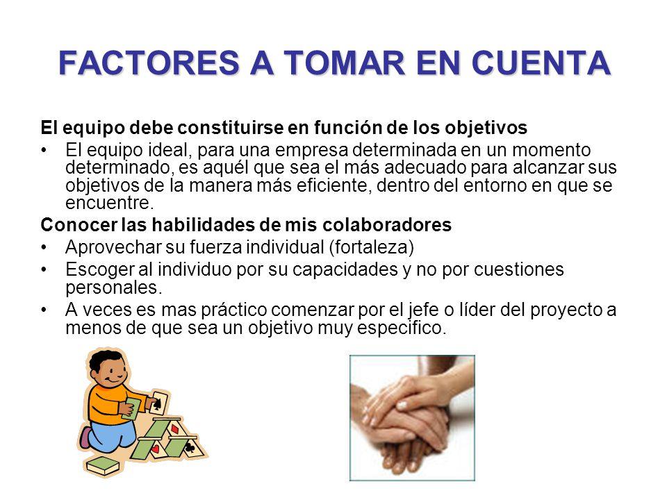FACTORES A TOMAR EN CUENTA