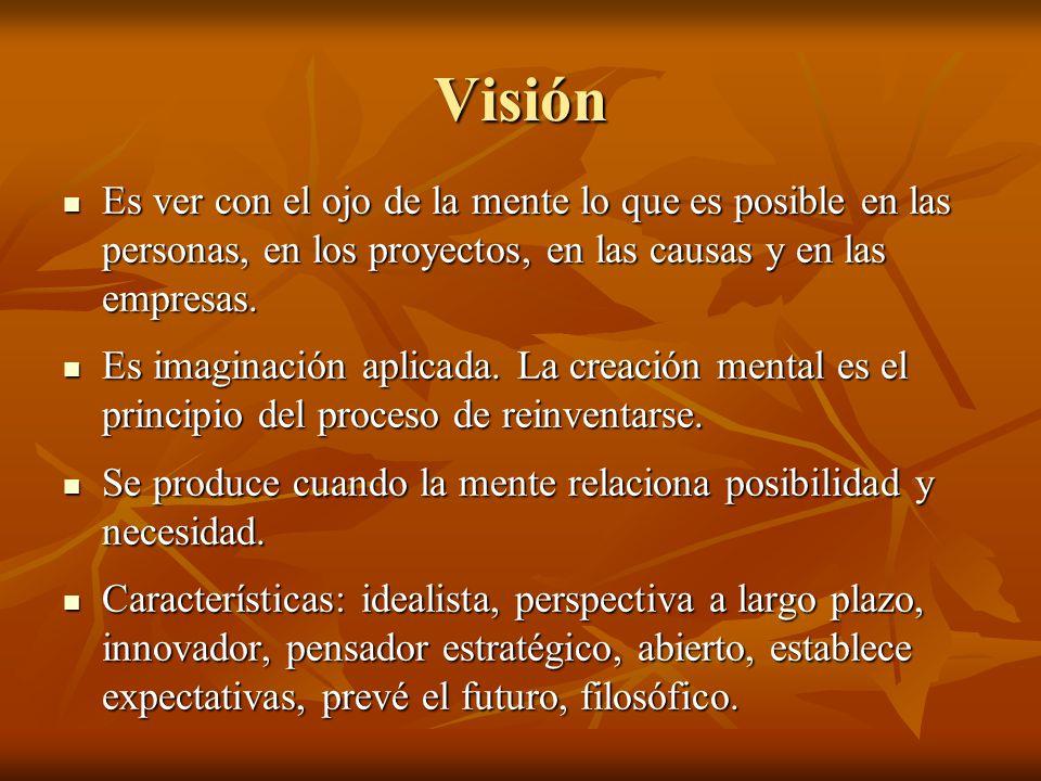 Visión Es ver con el ojo de la mente lo que es posible en las personas, en los proyectos, en las causas y en las empresas.
