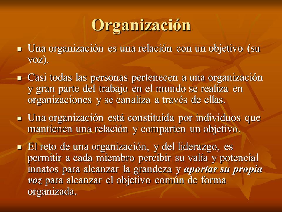 Organización Una organización es una relación con un objetivo (su voz).