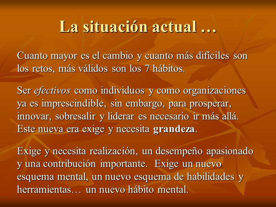 La situación actual … Cuanto mayor es el cambio y cuanto más difíciles son los retos, más válidos son los 7 hábitos.