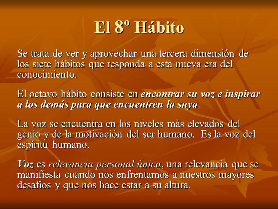 El 8º Hábito Se trata de ver y aprovechar una tercera dimensión de los siete hábitos que responda a esta nueva era del conocimiento.