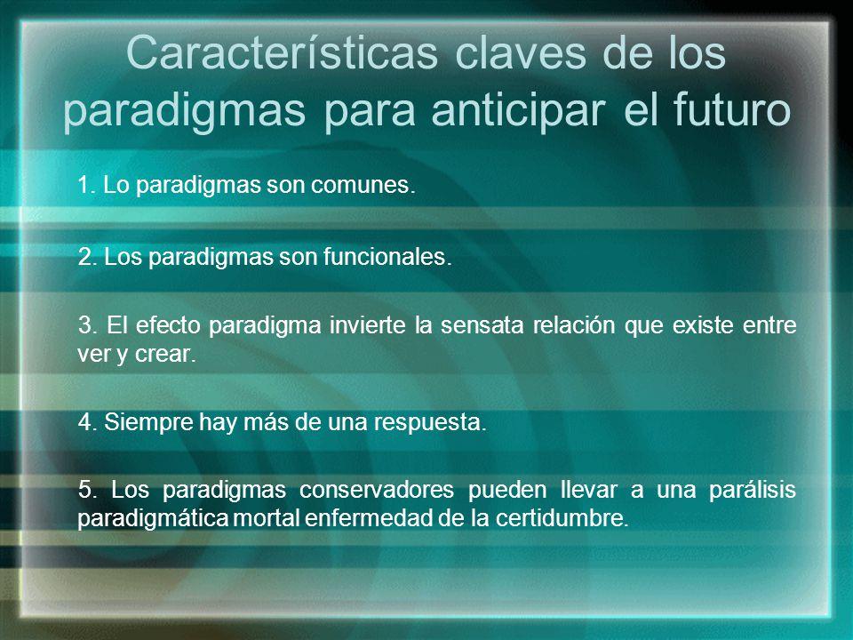 Características claves de los paradigmas para anticipar el futuro