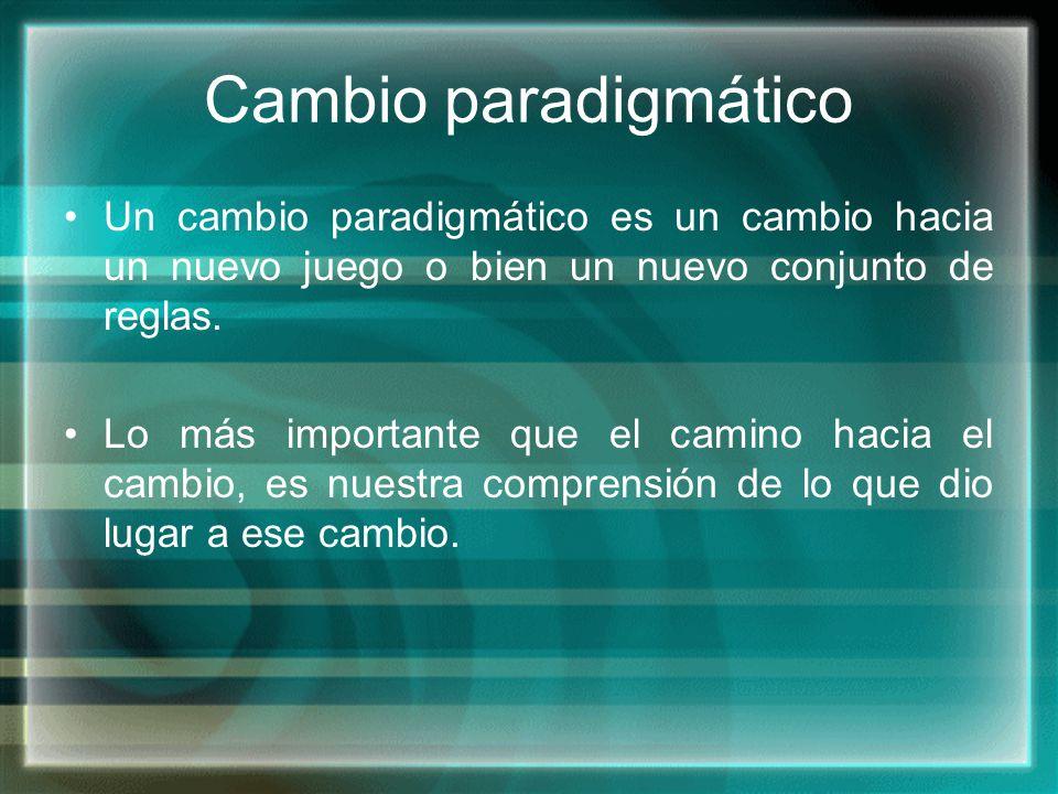 Cambio paradigmático Un cambio paradigmático es un cambio hacia un nuevo juego o bien un nuevo conjunto de reglas.