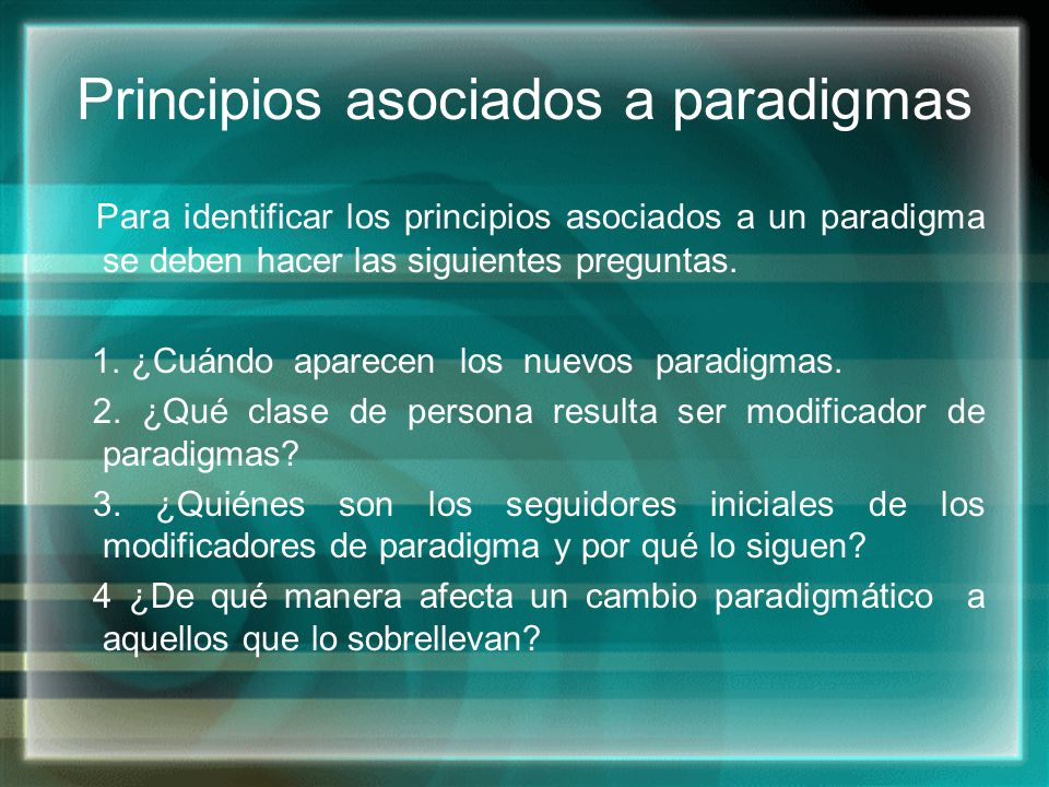Principios asociados a paradigmas