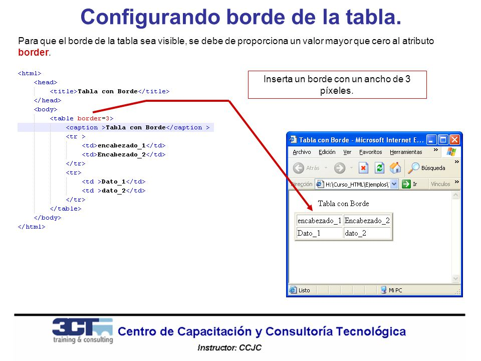 Configurando borde de la tabla.