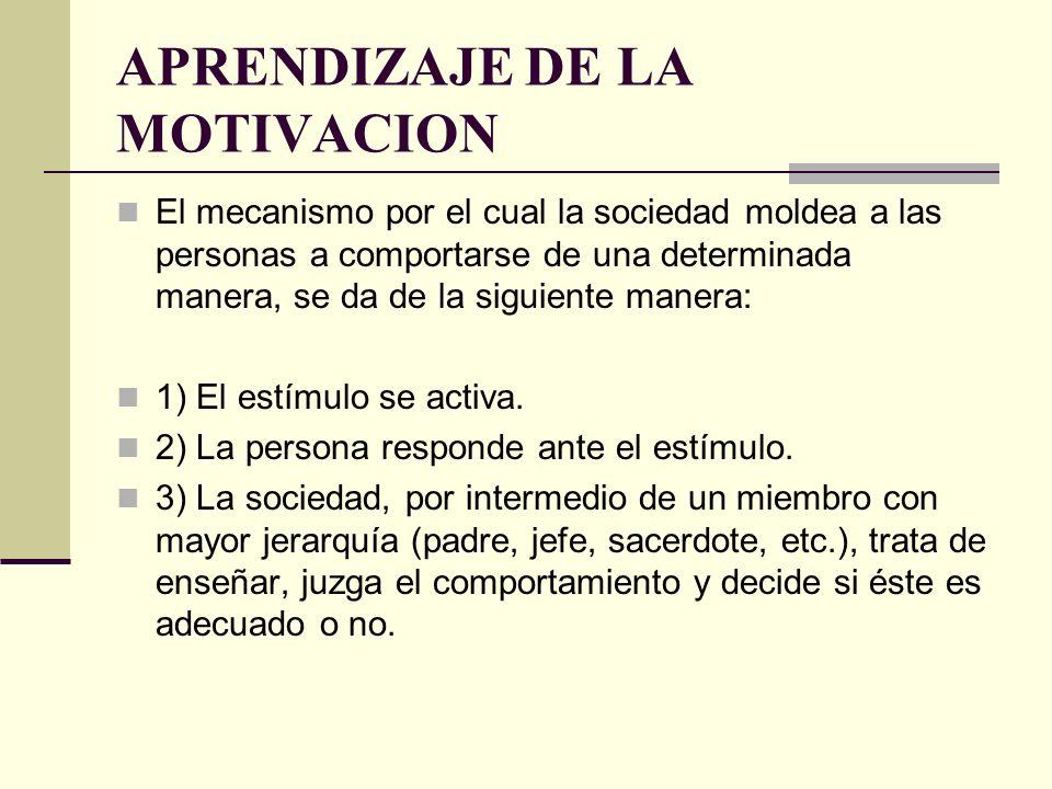 APRENDIZAJE DE LA MOTIVACION