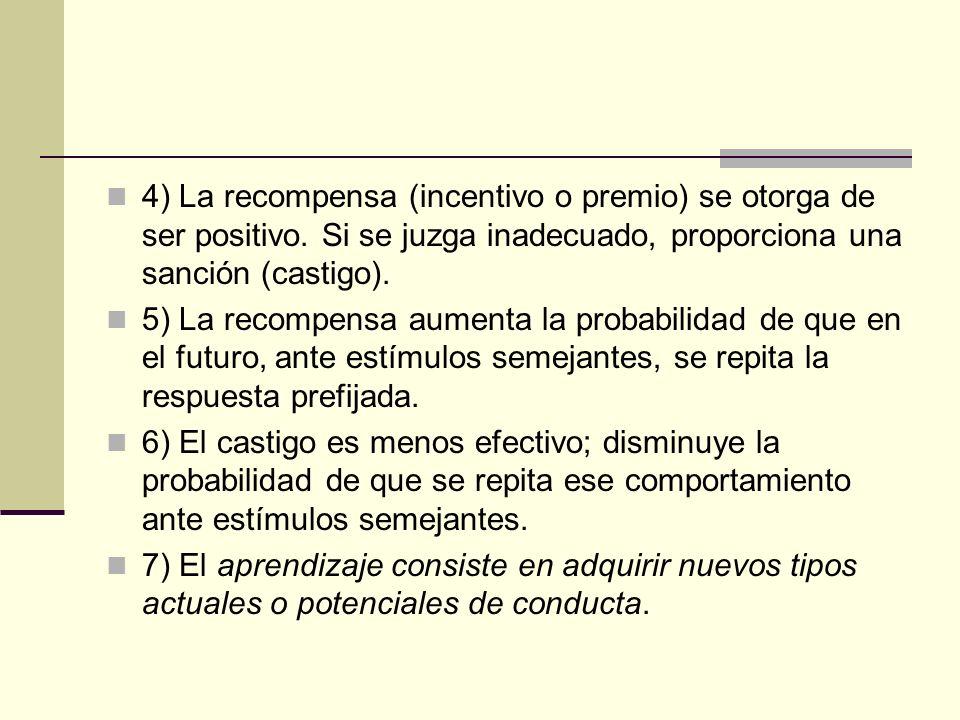 4) La recompensa (incentivo o premio) se otorga de ser positivo