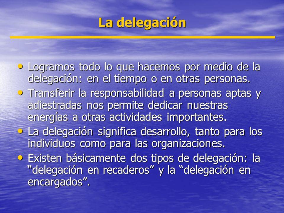 La delegación Logramos todo lo que hacemos por medio de la delegación: en el tiempo o en otras personas.