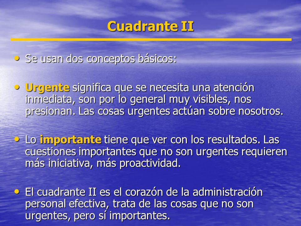 Cuadrante II Se usan dos conceptos básicos:
