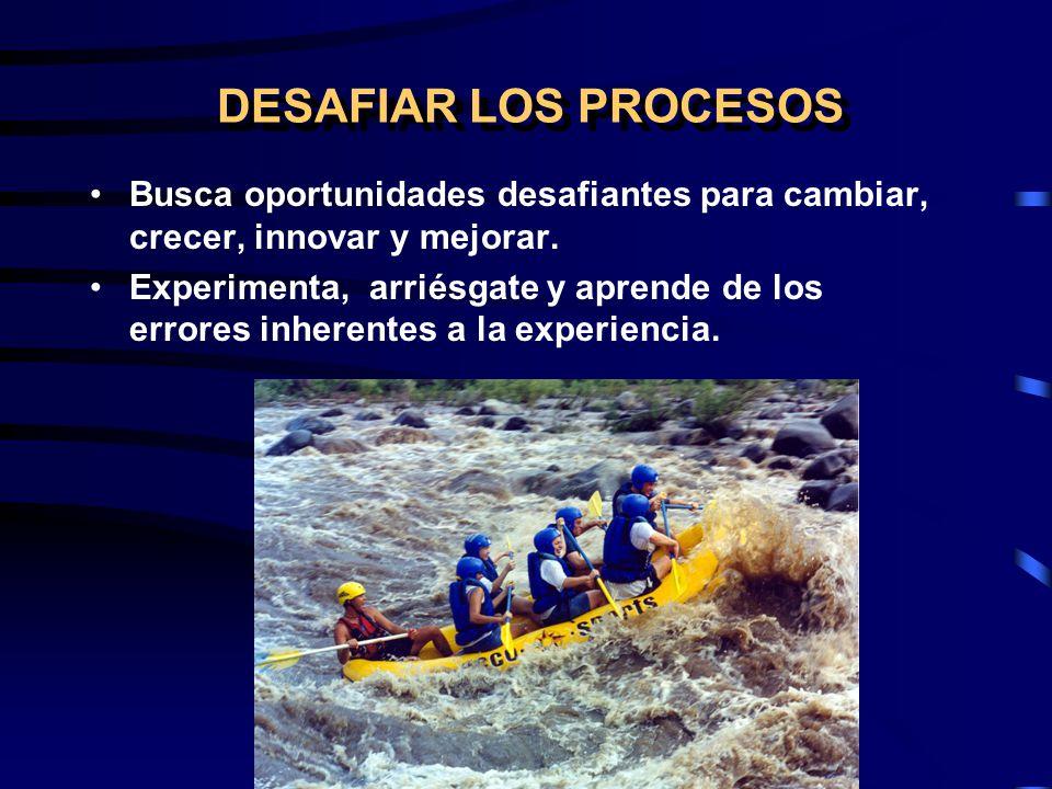 DESAFIAR LOS PROCESOS Busca oportunidades desafiantes para cambiar, crecer, innovar y mejorar.