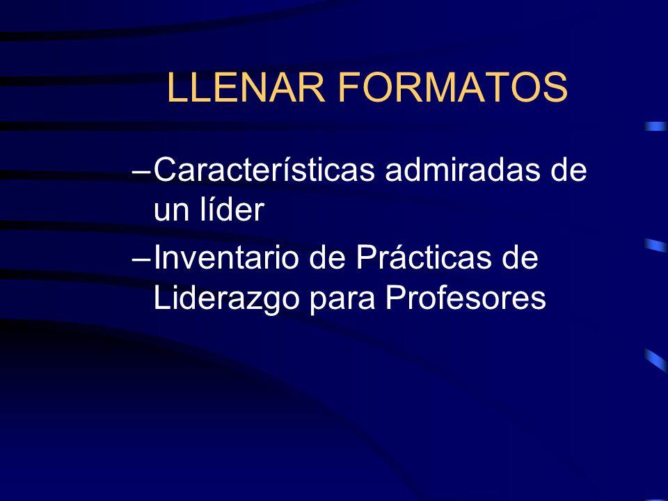 LLENAR FORMATOS Características admiradas de un líder