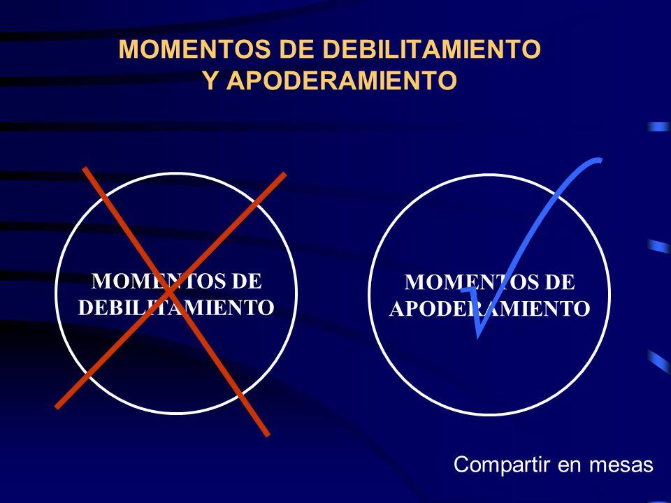 MOMENTOS DE DEBILITAMIENTO Y APODERAMIENTO