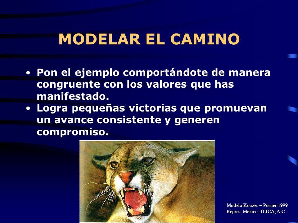 MODELAR EL CAMINO Pon el ejemplo comportándote de manera congruente con los valores que has manifestado.