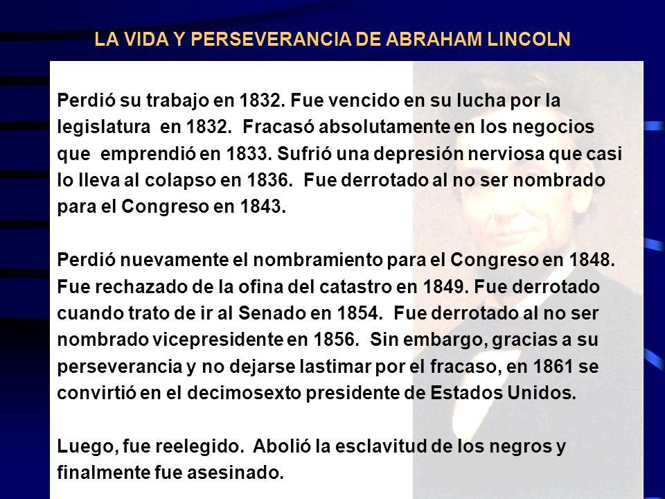 LA VIDA Y PERSEVERANCIA DE ABRAHAM LINCOLN