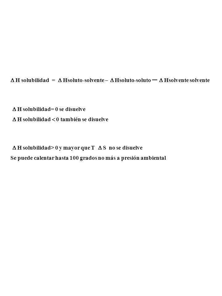   H solubilidad =  Hsoluto-solvente – Hsoluto-soluto – Hsolvente solvente.  H solubilidad= 0 se disuelve.