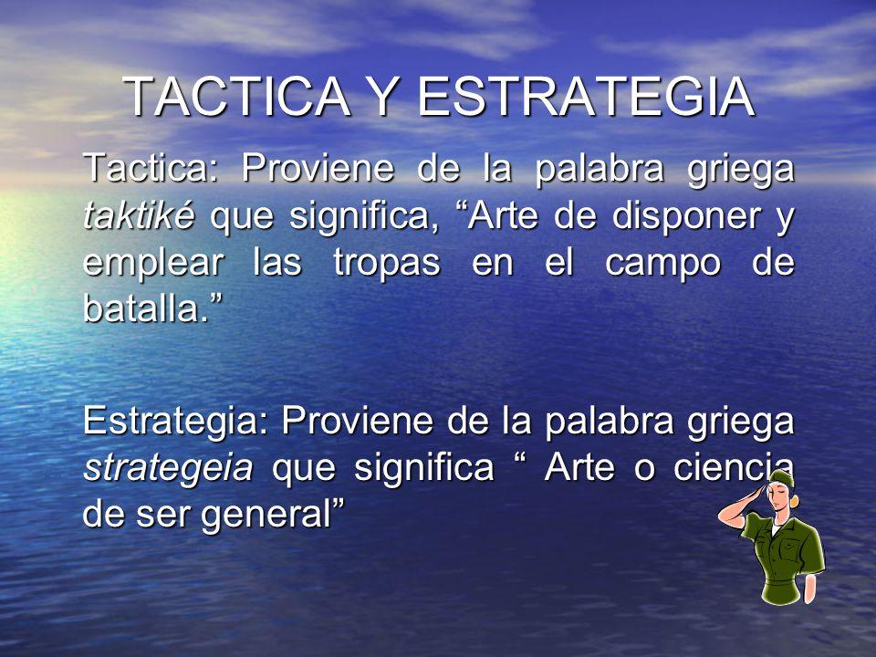 TACTICA Y ESTRATEGIA Tactica: Proviene de la palabra griega taktiké que significa, Arte de disponer y emplear las tropas en el campo de batalla.