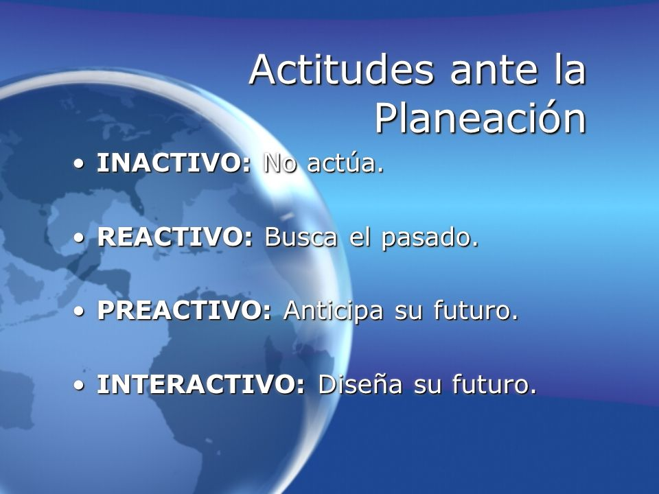 Actitudes ante la Planeación