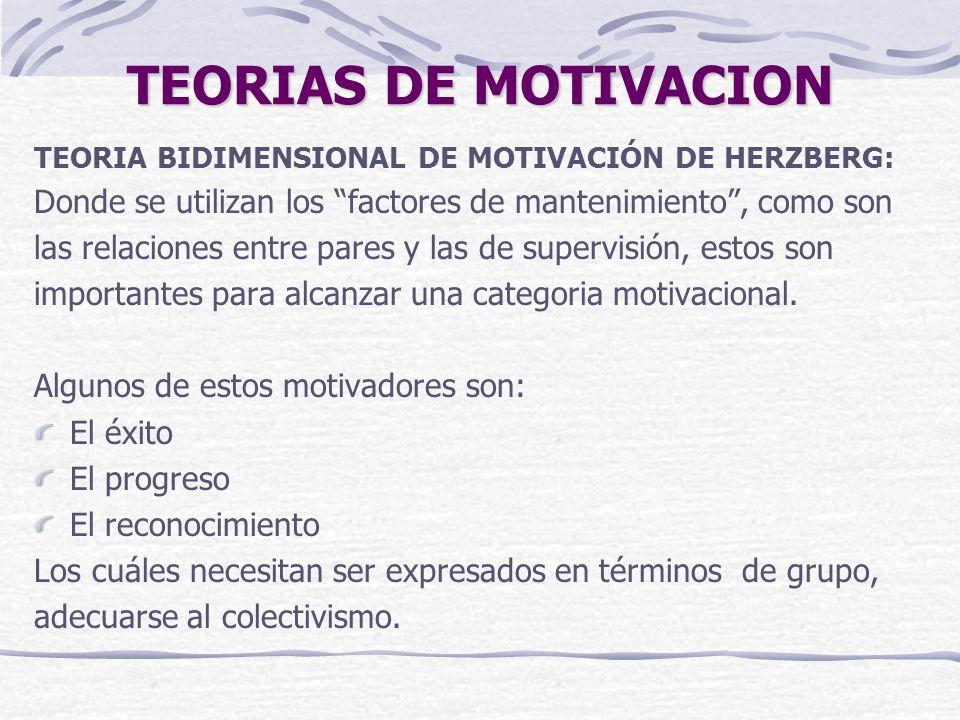 TEORIAS DE MOTIVACION TEORIA BIDIMENSIONAL DE MOTIVACIÓN DE HERZBERG: Donde se utilizan los factores de mantenimiento , como son.