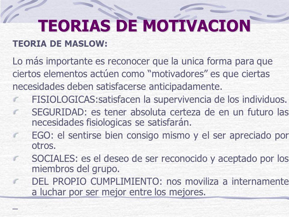TEORIAS DE MOTIVACION TEORIA DE MASLOW: Lo más importante es reconocer que la unica forma para que.