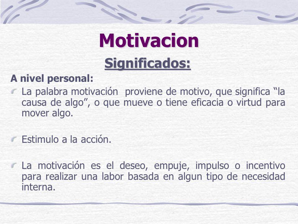 Motivacion Significados: A nivel personal: