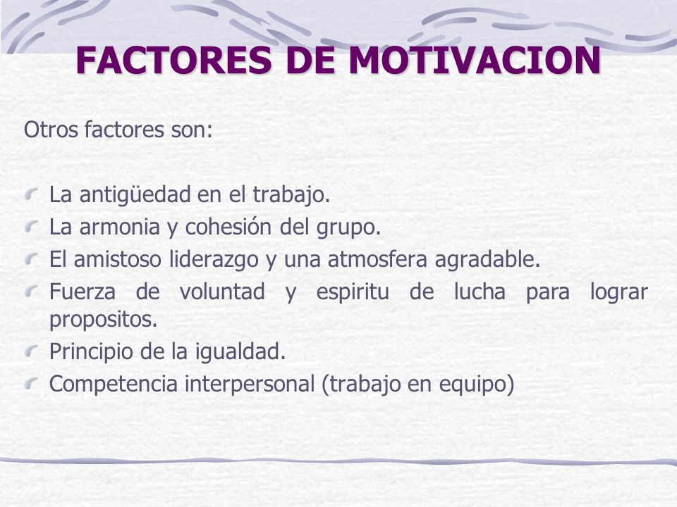 FACTORES DE MOTIVACION