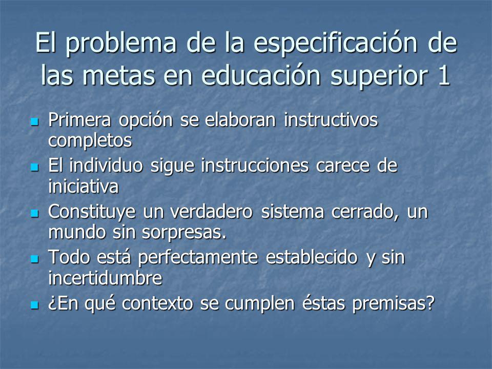 El problema de la especificación de las metas en educación superior 1