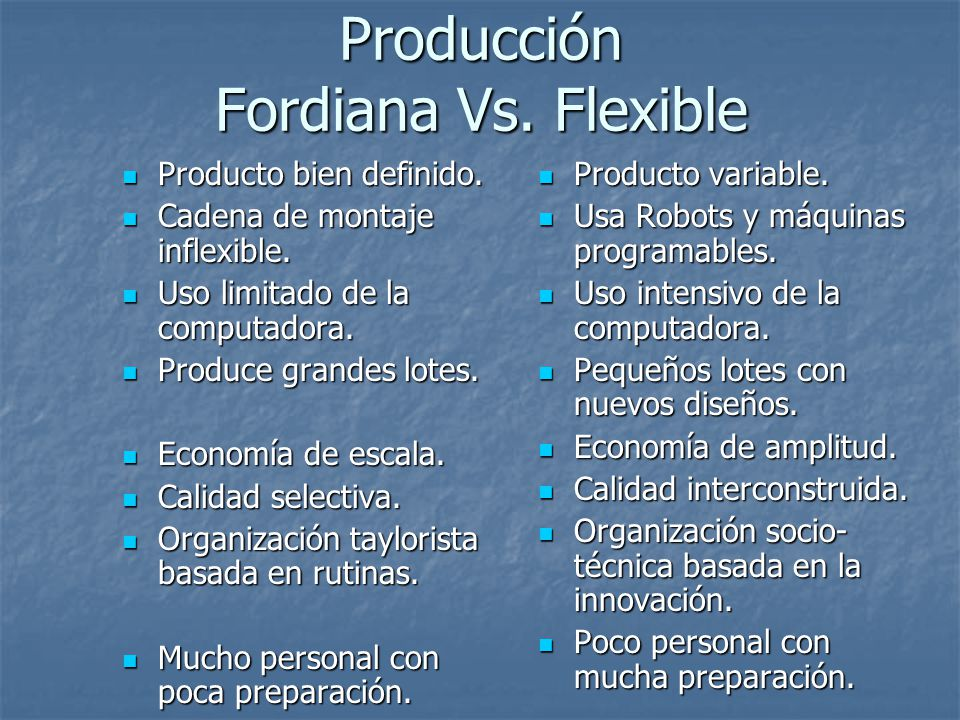 Producción Fordiana Vs. Flexible