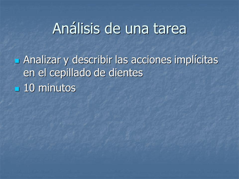 Análisis de una tarea Analizar y describir las acciones implícitas en el cepillado de dientes.